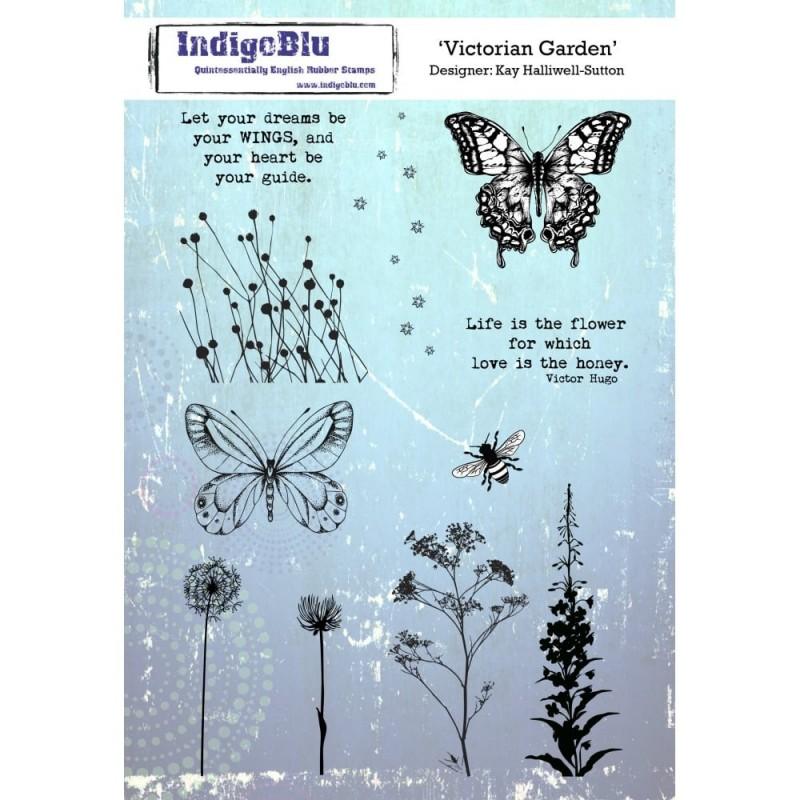 IndigoBlu Victorian Garden Rubber Stamp