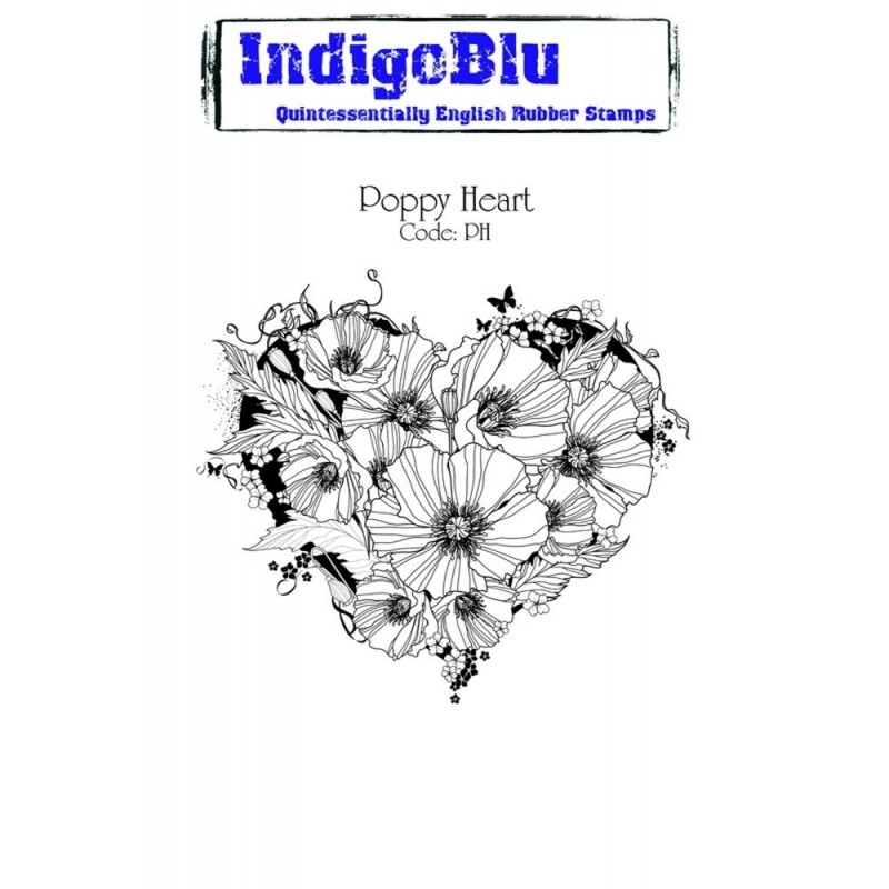 IndigoBlu Poppy Heart Rubber Stamp